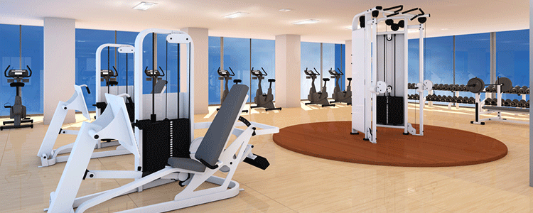 walking track and an in-house gym